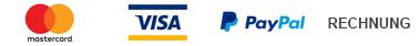 Bezahlung möglich mit Kreditkarte, Paypal, Direkt Überweisung und Rechnung