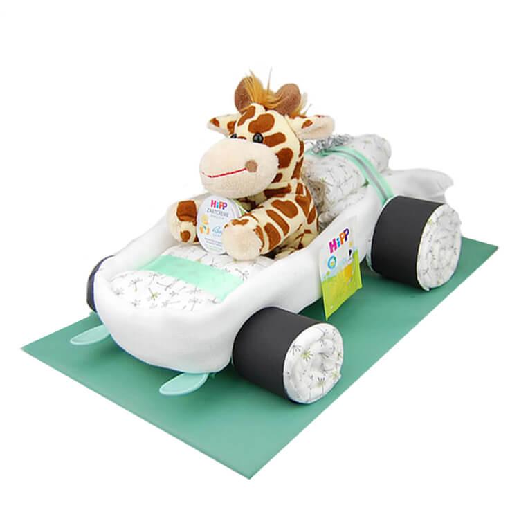 Geschenk zur Geburt Geschenk zur Babyparty Taufgeschenk inkl Handgefertigte Windeltorte 32 LILLYDOO Windeln Windelpanda Neutral| Windeltorte Panda in Gr/ün Windeltorte.com