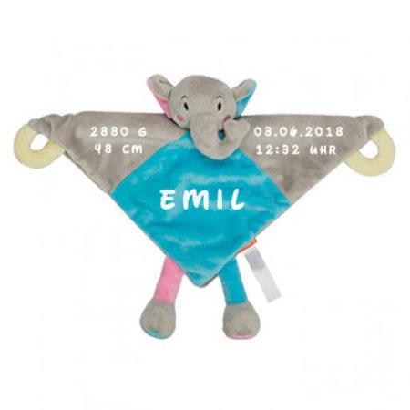 Kuscheltuch-Elefant-bedruckt