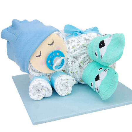 Windeltorte Baby für Jungen in zarten Blautönen