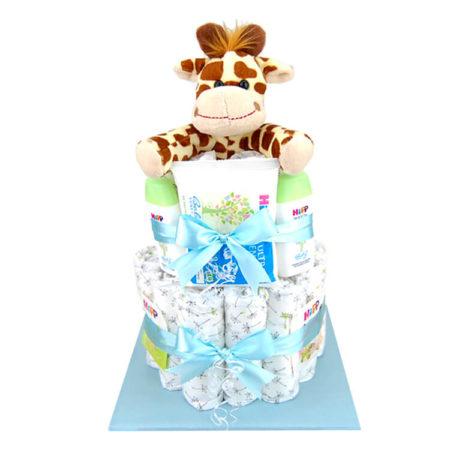 Blaue Windeltorte Giraffe für Jungen